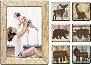 Morcart 5x7 Magnetic Picture Frames Refrigerator Magnets Tabletop Picture Frame 3in1 Animal Wood Grain Art Set for Fridge Whiteboard Home Table Top Display Teacher Gift(8 Pack)
