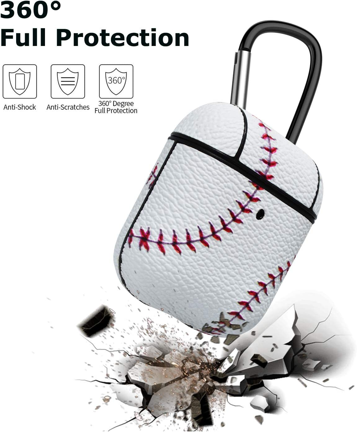 AirPods Case Takfox Airpod Case Cover Protective Shockproof Scratch Resistance Premium Leather Headphone Case with Carabiner//Keychain Skin for Apple Airpods 2 /& AirPods 1 Charging Case-Baseball