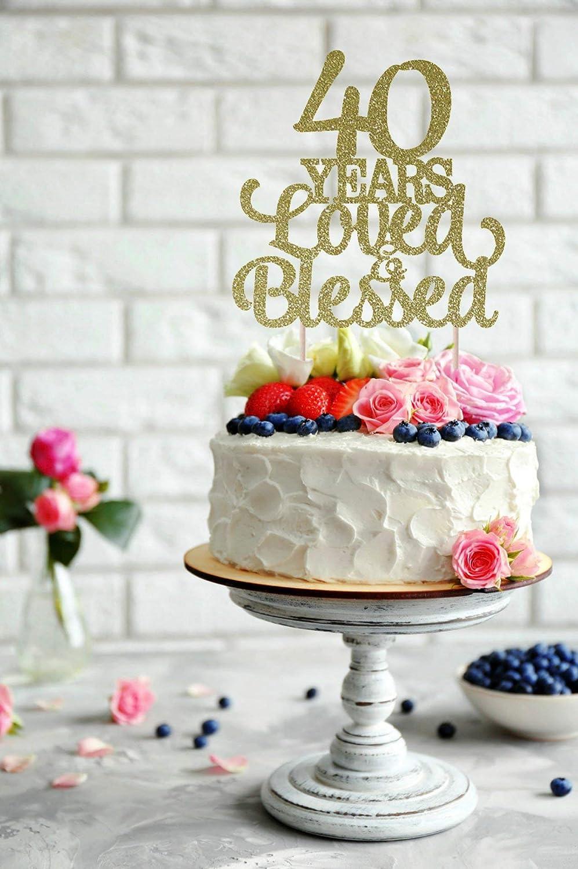 Decoración para tarta de boda chic para 40 años de amor y ...