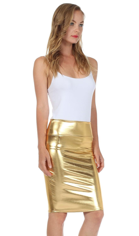 Sakkas Womens Shiny Metallic Liquid High Waist Pencil Skirt