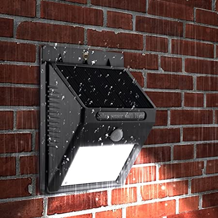 Getko With Device LED Solar Panel Power Light Wall Lamp Motion Sensor Luminaria Energy 20Leds Waterproof Sunlight for Garden Outdoor Stairs (Black)