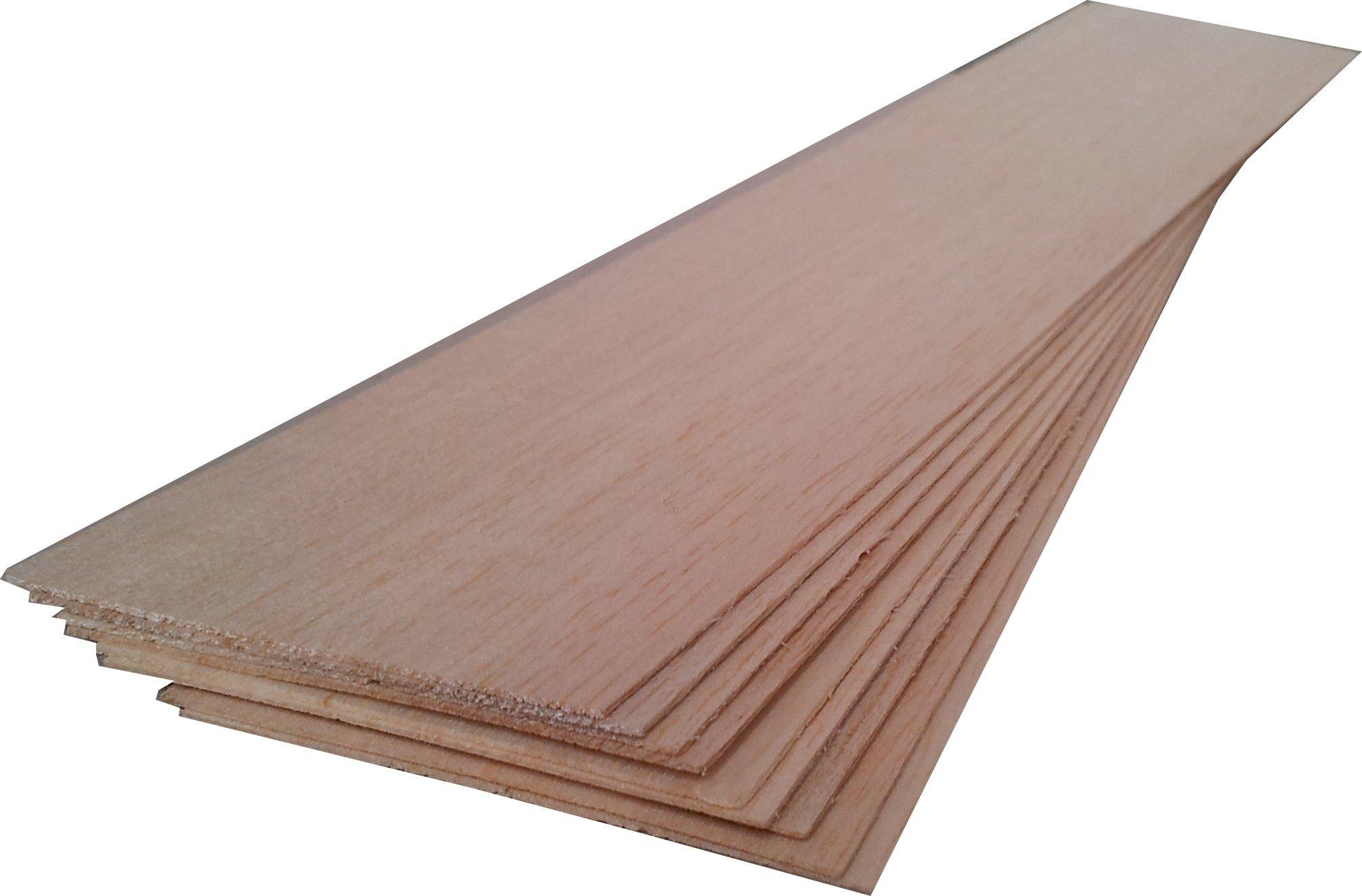 BALSA WOOD 10 sheets 12'' x 3'' x 1/16'' (306mm x 75mm x 1.5mm)
