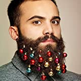 Beard Ornaments 12pc Colorful Christmas Facial Hair Ball Baubles for Santa Claus Beard Clip Men in the Holiday Spirit, 6 Colors of Bulbs and 6 Vibrant Ring Bells