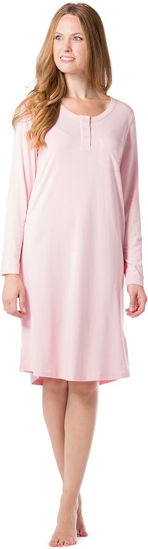 Fishers Finery Women's Ecofabric Henley Nightshirt; Long Sleeve; Below Knee