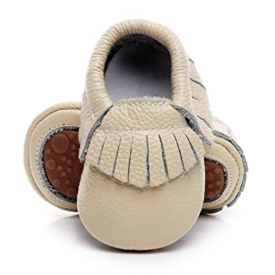 911ddeb529e HONGTEYA Leather Baby Moccasins Hard Soled Tassel Crib Toddler Shoes for  Boys and Girls (0