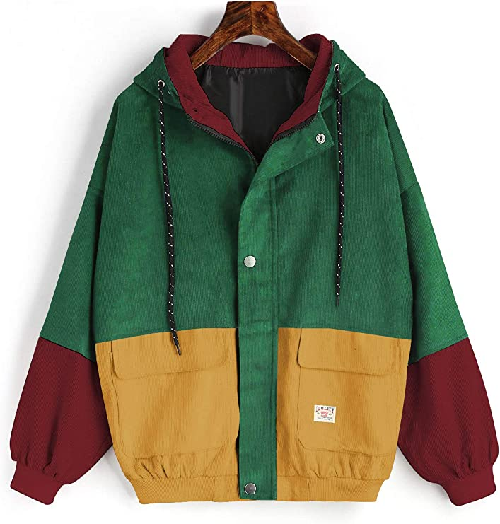Women's Corduroy Loose Hooded Jacket