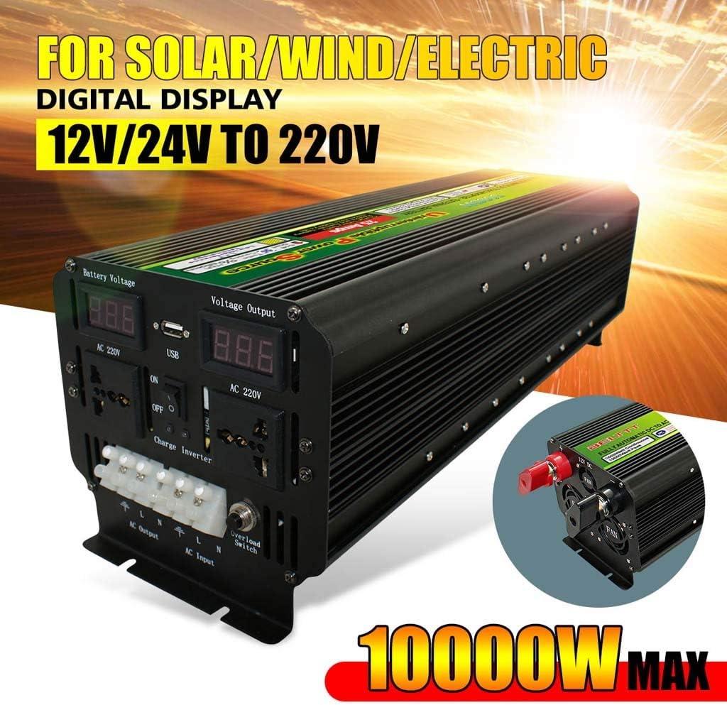 LiRongPing 10000W (Pico) 12 / 24V a 220V UPS inversor de la energía Solar for Pantalla LCD/Viento Recargable 5000Watt Onda sinusoidal modificada del convertidor (Size : 12V, Watts : 10000W)