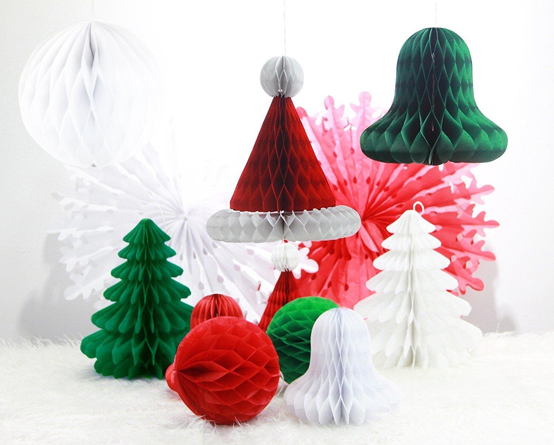 Amazon.com: SUNBEAUTY Set Of 12 Mix And Match Christmas Decorations Paper  Honeycomb Tree, Ball, Bell,Hat U0026 Snowflake Fan Honeycomb Decorations: Arts,  ...
