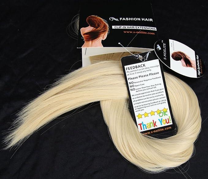S-noilite extensiones Cabello lisos, 58 cm una sola pieza cabeza entera peluca Rubio de blanqueamiento: Amazon.es: Belleza