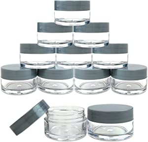 Beauticom 12 Pieces 20G/20ML Round Clear Jars with Gray Lids for Herbs, Spices, Loose Leaf Teas, Coffee and Other Foods - BPA Free