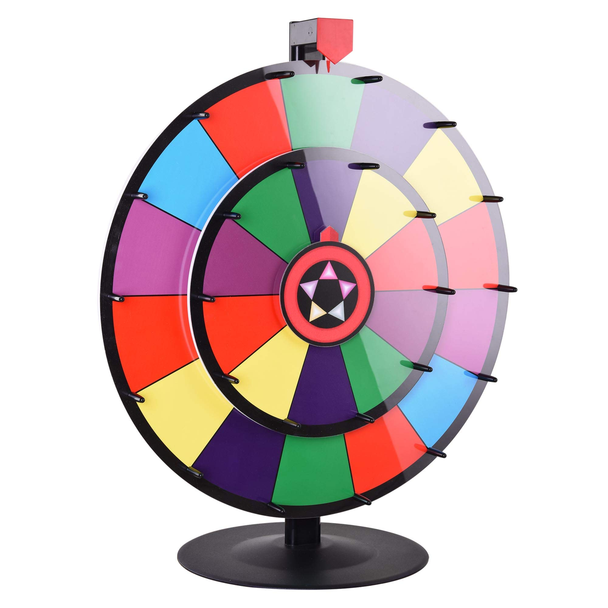 WinSpin 24'' Tabletop Spinning Prize Wheel Dual Wheels Editable Dry Erase Color Slot Tradeshow Fortune Spin Game