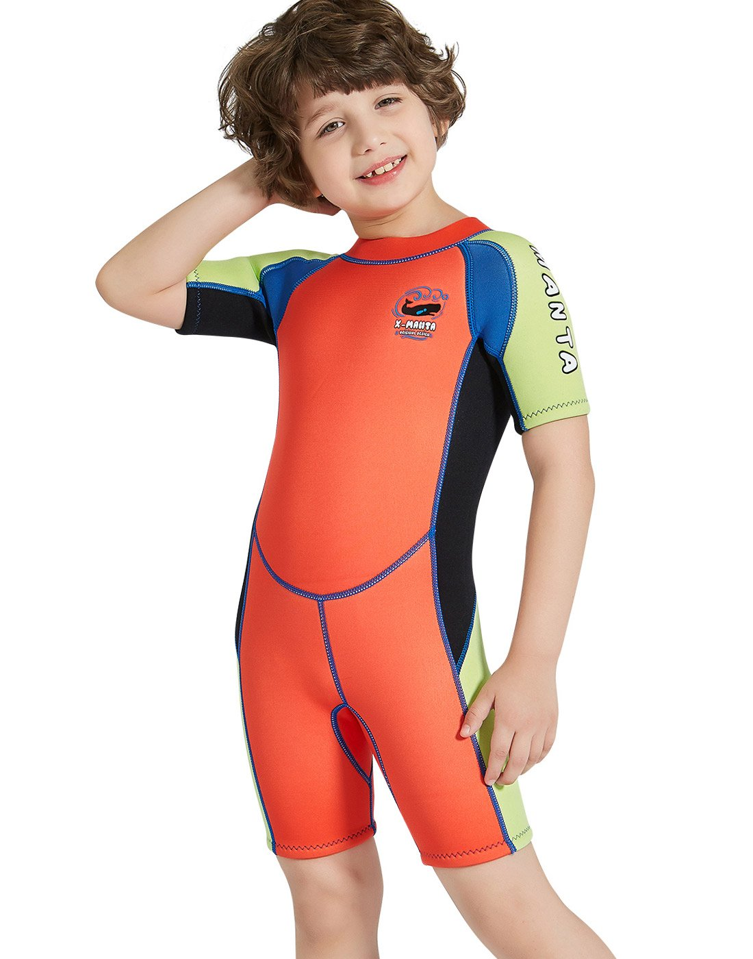 DIVE & SAIL Boys Short Sleeve Wetsuit 2.5mm Thermal Warm Shorty Suit Colorful Swimsuit Sun Protection Swimwear Orange S by DIVE & SAIL