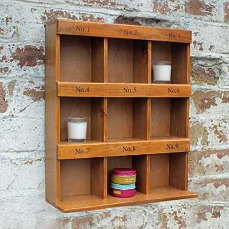 Armario de pared 12 palomas agujero de pared de madera unidad de almacenamiento estantes Home decorativo