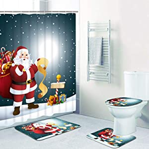 4 Pcs Merry Christmas Shower Curtain Sets with Non-Slip Rug, Toilet Lid Cover and Bath Mat, Santa Moon Snow Shower Curtain with 12 Hooks for Christmas Decoration
