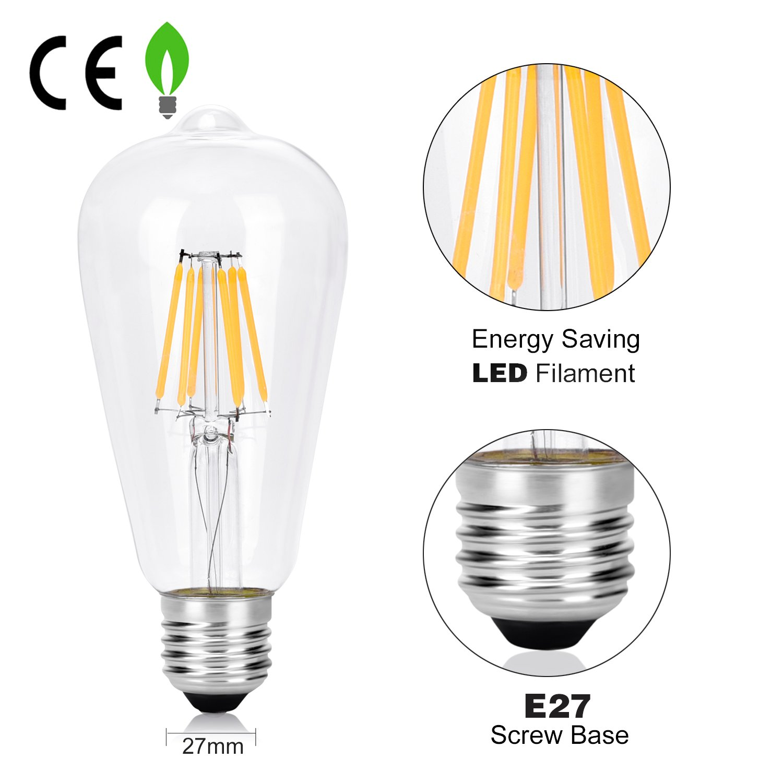 Clear Glass 4-Pack Wedna LED Filament E27 Edison Screw Bulb 60 W 6 W ST64 Vintage Light Bulbs Energy Saving Bulb Warm White 2700K Non-Dimmable