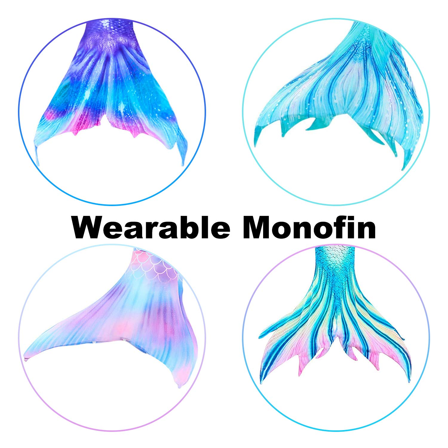 Garlagy 3 Pcs Girls Swimsuit Mermaid Tails for Swimming Bikini Set Bathing Suit Swimmable Can Add Monofin for 3-14Y (One Size, Monofin (Wearable))