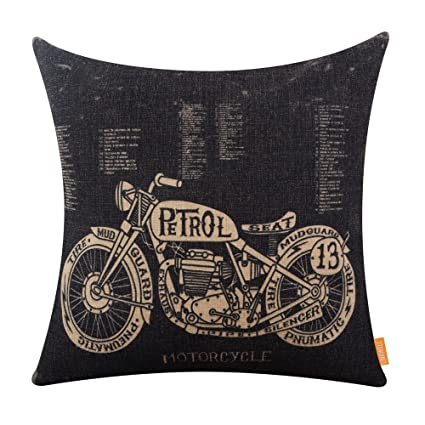 LINKWELL 18x18 Inches Black Motorcycle Design Draft Man Cave Home Sofa  Burlap Throw Cushion Cover Pillowcase
