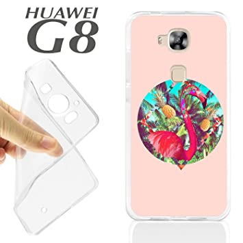 J236 HUAWEI G8 GEL CARCASA FUNDA TPU FLAMENCO DE COLORES ...