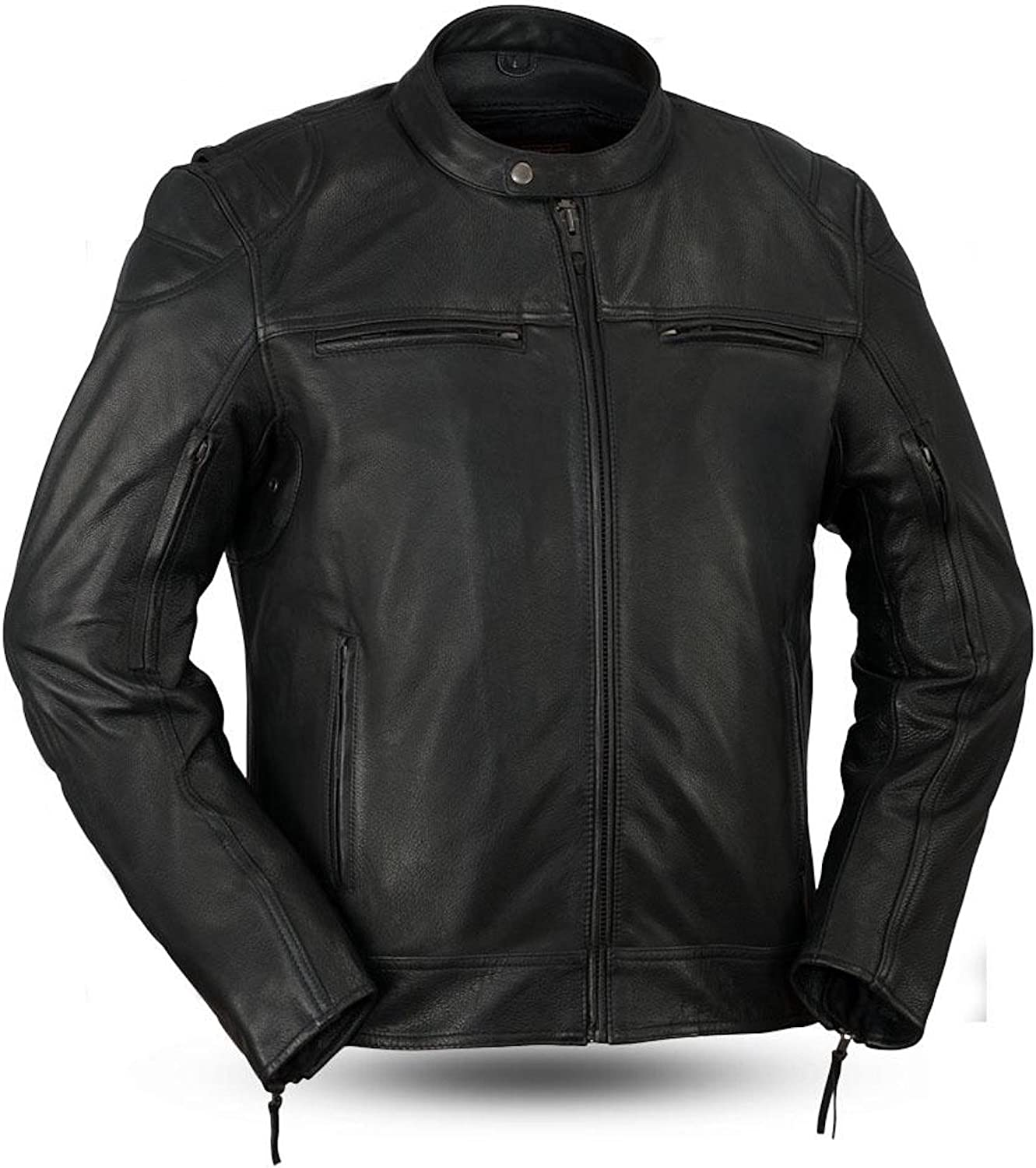 First Manufacturing Top Performer Mens Maduro Brown Leather Motorcycle Scooter Jacket