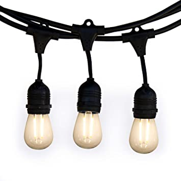 Holiday Lighting Outlet Weatherproof Commercial Grade LED Patio Light  Strings, 15 Hanging Sockets, 16