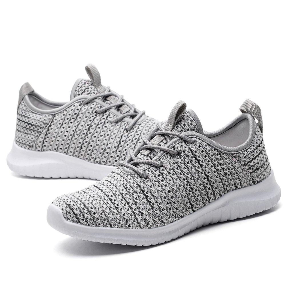 KONHILL Women's Tennis Walking Shoes - Lightweight Casual Athletic Sport Running Sneakers B079JWV2HB 10.5 M US|2111 Gray