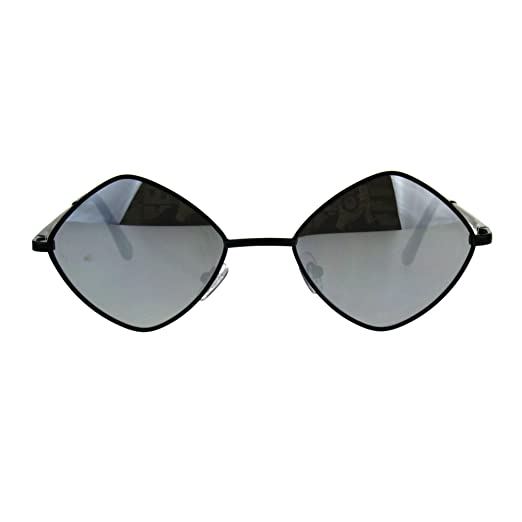 1eb4cc419af9e Mens Pimp Hippie Diamond Color Mirror Square Metal Rim Sunglasses Black  Silver