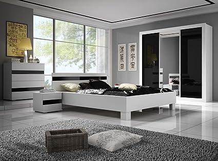 Chambre A Coucher Complete Lucca Design Laque Brillant Noir Et Blanc Lit 160x200 Table De Nuit Et Commode