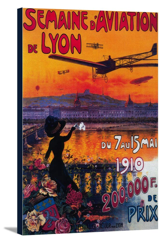 Semaine D '航空de Lyonヴィンテージポスター 24 x 36 Gallery Canvas LANT-3P-SC-2013-24x36 B0184AD57M  24 x 36 Gallery Canvas