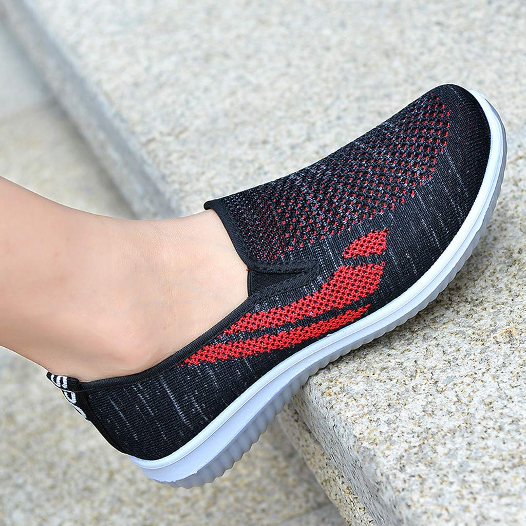 Kauneus Walking Shoes for Women Round Toe Breathable Lightweight Flat Slip-on Loafers Sneakers Fitness Sport Shoes