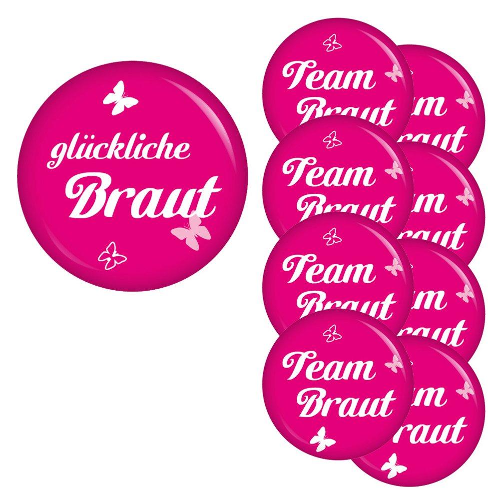Team Braut Sticker für Junggesellenabschied I Hochzeit I AnsteckButton