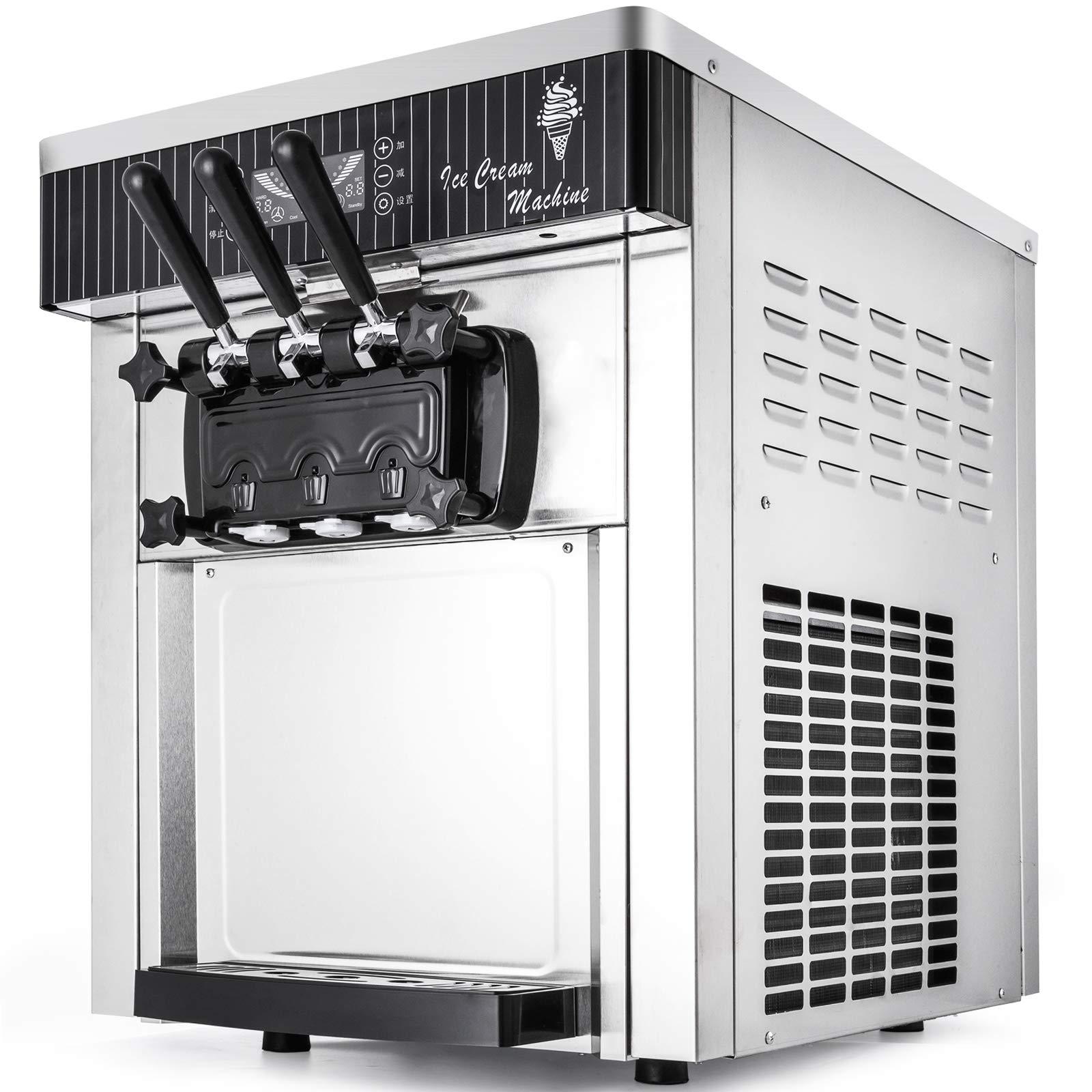 VEVOR 2200W Commercial Soft Ice Cream Machine 3 Flavors 5.3-7.4Gallons/H Auto Clean LED Panel Perfect for Restaurants Snack Bar supermarkets, 2200W, Sliver/Desktop