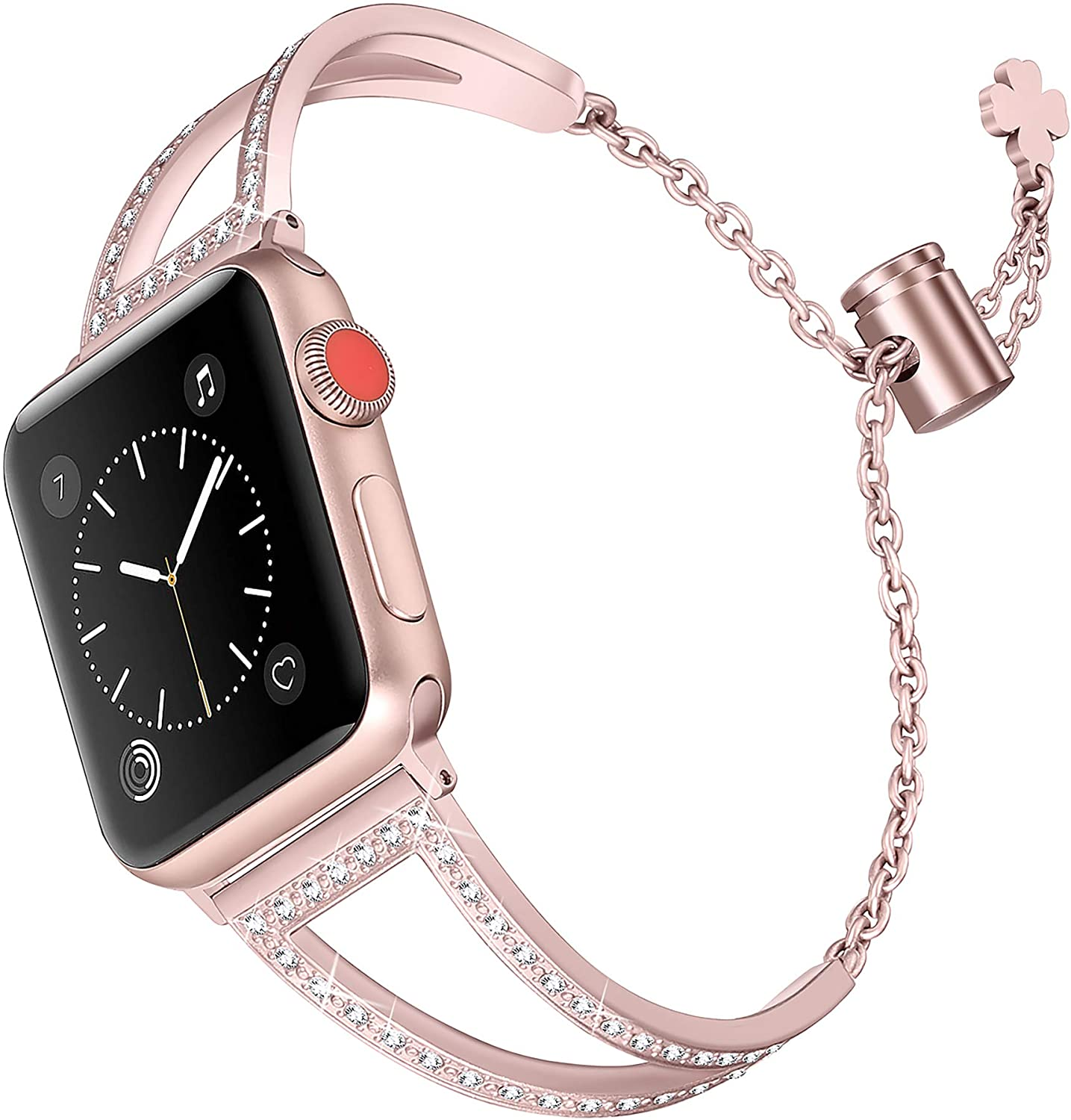 Secbolt Bling Bands Compatible with Apple Watch Bands 38mm 40mm 42mm 44mm iWatch SE Series 6/5/4/3/2/1, Women Dressy Metal Jewelry Bracelet Bangle Wristband Stainless Steel