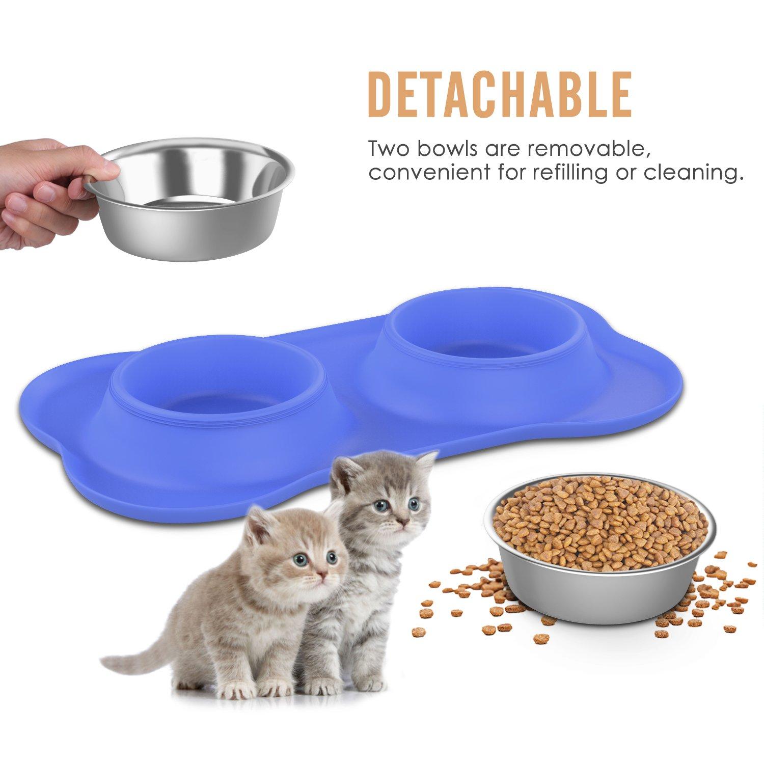 Pawaboo Pet Dog Cat Bowls, Premium Stainless Steel Pet Feeder with Food Grade Bone Shaped Rubber Base, 4.33 Inch Diameter Bowls for Pet Dog Cat Food or Water, Set of 2, Small Size, BLUE by PAWABOO (Image #3)