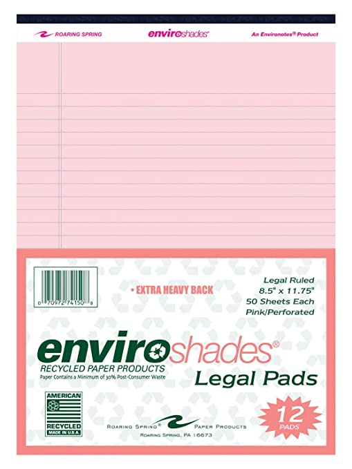 Amazon com : Enviroshades Legal Pad, 8-1/2 x 11 Inches, Pink, 50