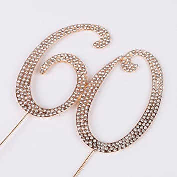 PALASASA Premium Sparkly Number Quot60quot Crystal Rhinestones 60th Birthday Or Anniversary Party Decoration