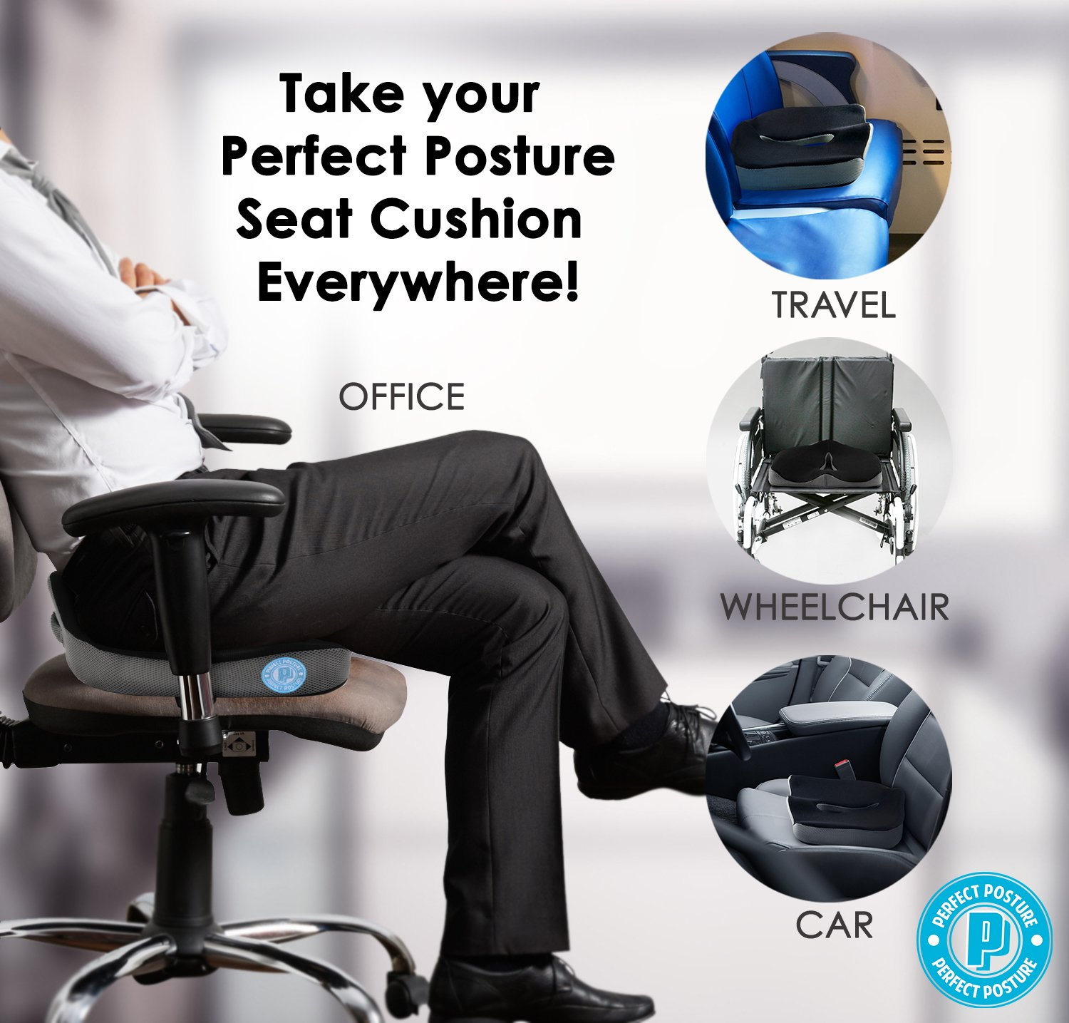 Amazon PERFECT POSTURE Memory Foam Seat Cushion for Car and