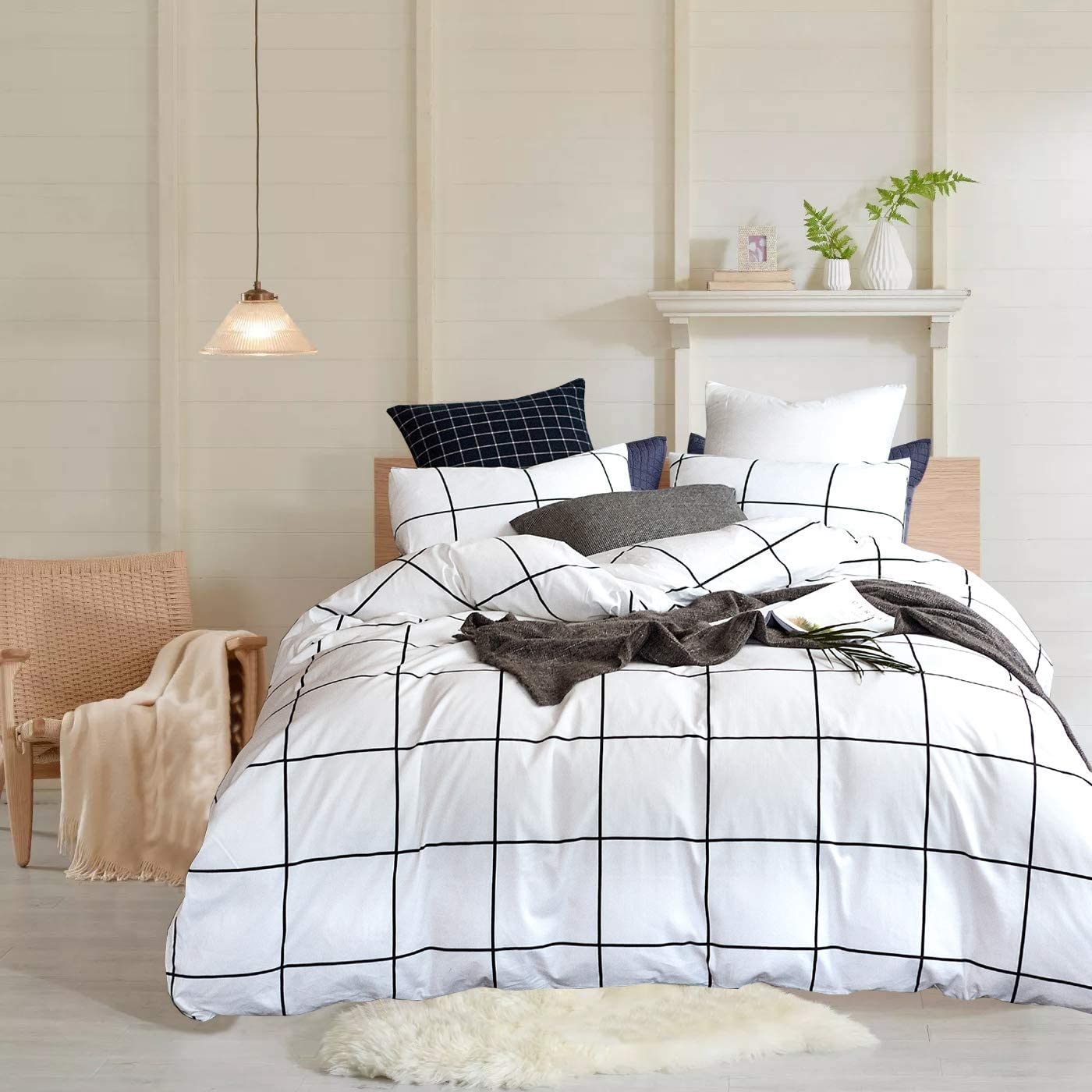 Wellboo White Grid Duvet Cover Cotton Plaid Checkered Bedding Cover Sets  Queen Full Adult Women Men Quilt Covers Large Plaid Black and White Duvet  ...