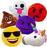Liberty Imports Large Emoji Plush Pillows Bundle, 13 Inches (32 cm) Jumbo Stuffed Cushion Pillows Set with Poop, Devil…