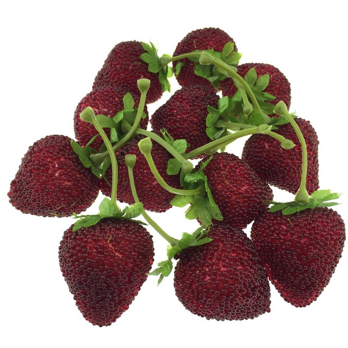 Gresorth 12pcs Artificial Lifelike Simulation Big Strawberry Fake Fruit Home Kitchen Decor Photo Props