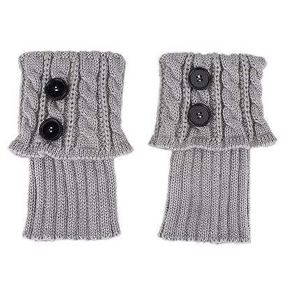 Delaman Botines para Botas Short Women Crochet Boots Cuffs, Calentadores de Pierna de Punto de