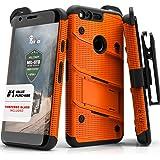 Google Pixel Case, Zizo [Bolt Series] w/ FREE [Google Pixel Screen Protector] Kickstand [12 ft. Military Grade Drop Tested] Holster Belt Clip- Pixel Orange/Black