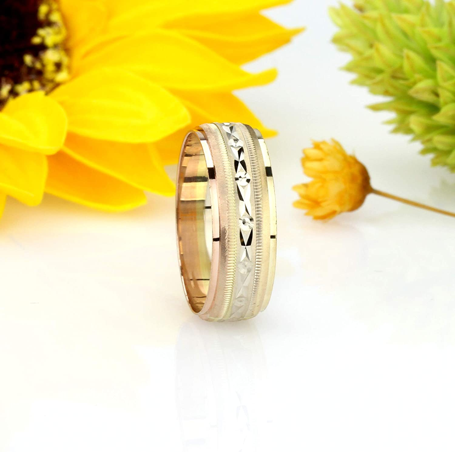 14K Tri Color Gold 5mm Wedding Band Size 5 to 13.5