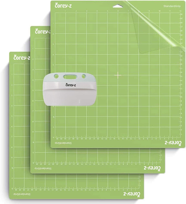 Cutting Mat for Cricut Explore One//Air//Air 2//Maker Cut Mat Replacement Accessories Set Matts Vinyl Craft 12/×12 3 Pack,Standardgrip, and XL Scraper