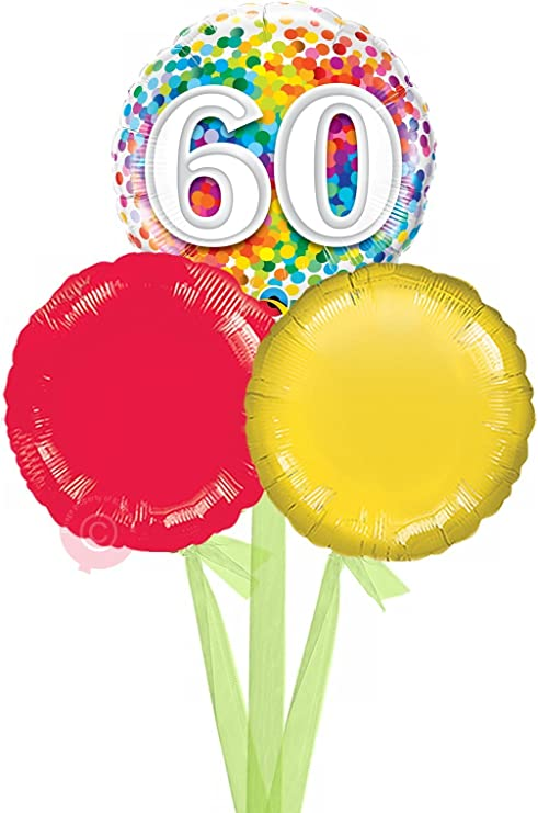 60th Birthday Rainbow Confetti Inflated Foil Balloon in a Box