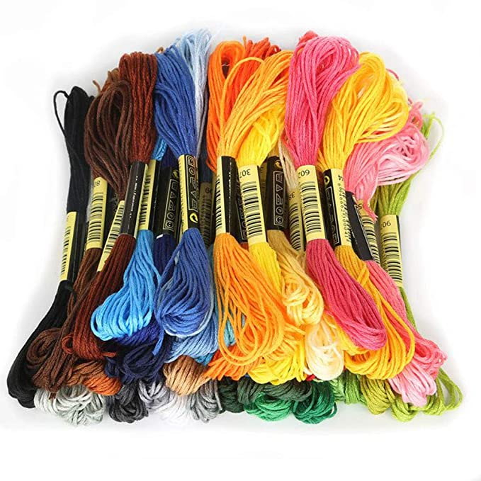 Yvetti 8Pcs Embroidery Floss Rainbow Color 50 Skeins Cross Stitch Sewing Threads Bracelets Floss Crafts Floss Stitch Threads Multiple Colors Available Yellow