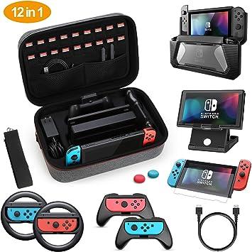 HEYSTOP Kit de Accesorios 12 en 1 para Nintendo Switch, con Funda de Transporte, TPU Cubierta Protectora, Joy-con Grip y Volante, Soporte,Protector de Pantalla, Apretones de Pulgar, Cable USB,Gris: Amazon.es: Electrónica