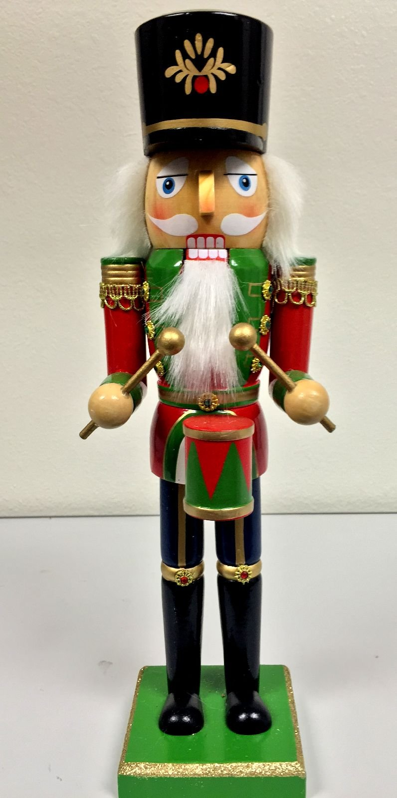 Red and Green Drummer Wooden Christmas Nutcracker 14 Inch Holiday Decoration New