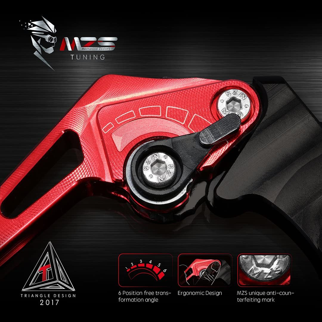 not 675R Speed Triple 2008-2010 2006-2017 not Street Triple 675 Street Triple R /& RX MZS Short Levers Brake Clutch Square Adjustment Red Compatible with Triumph Daytona 675 2009-2016