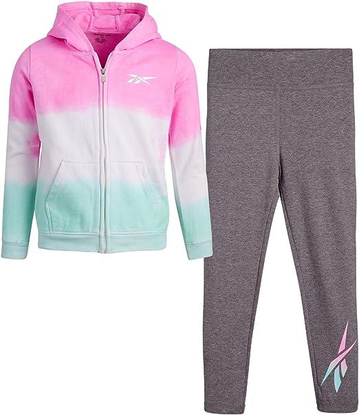 Reebok Girls Active Jogger Set - Fleece Hoodie Sweatshirt and Performance Legging Set (Little Girl/Big Girl)