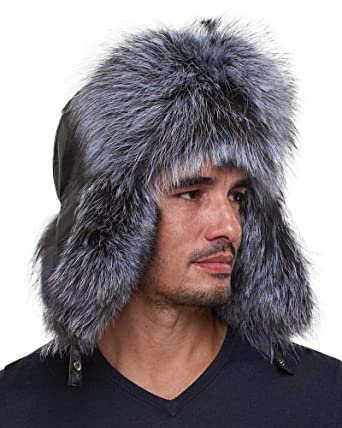 ec5f81f7527 Image Unavailable. Image not available for. Color  frr The Whistler Silver Fox  Fur Leather Trapper Hat